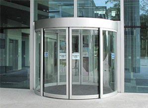 Revolving glass doors